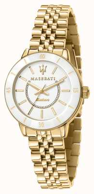 Maserati Woman's Successo Solar Gold-Plated Watch R8853145502