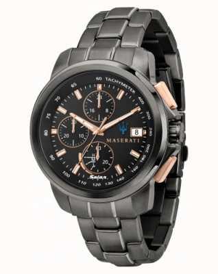 Maserati Successo Solar Men's Black and Rose-Gold Watch R8873645001
