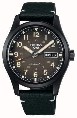 Seiko 5 Sports Field Black Plated Leather Strap Watch SRPG41K1