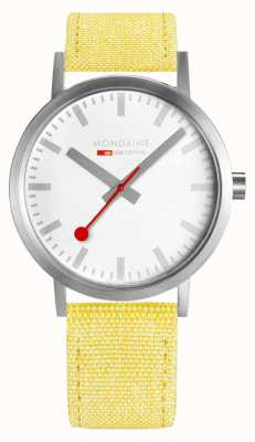Mondaine Classic Large Silver Case 40mm Yellow Strap A660.30360.17SBE