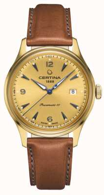 Certina DS Powermatic 80 Gold Dial Leather Strap C0384073636700