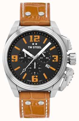 TW Steel Canteen Orange Leather Strap Watch TW1012