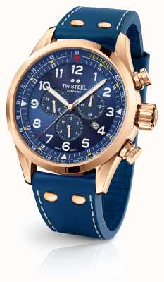TW Steel Swiss Volante Gold PVD Plated Case Blue Dial SVS204