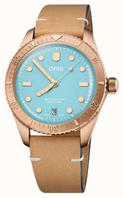 ORIS Divers Sixty-Five Cotton Candy Blue Leather Strap 01 733 7771 3155-07 5 19 04BR