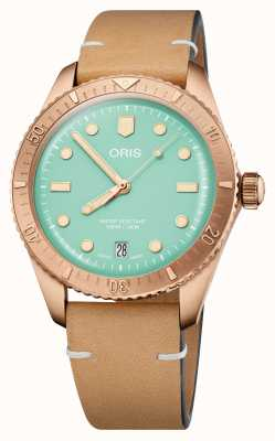 ORIS Divers Sixty-Five Cotton Candy Green Leather Strap 01 733 7771 3157-07 5 19 04BR