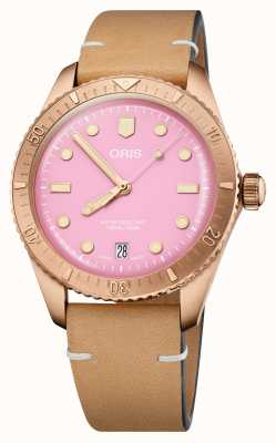 ORIS Divers Sixty-Five Cotton Candy Pink Leather Strap 01 733 7771 3158-07 5 19 04BR