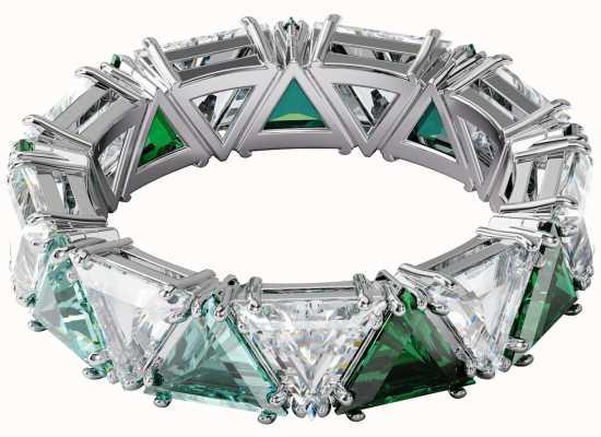 Swarovski Millenia | Ring | Triangle Cut Crystals | Green | Rhodium Plated | UK N 5600760