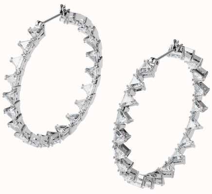 Swarovski Millenia | Hoop Earrings | Triangle Swarovski Zirconia | White | Rhodium Plated 5602230
