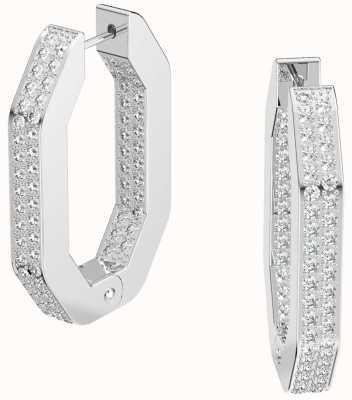 Swarovski Dextera | Hoop Earrings | Rhodium Plated | White 5618308