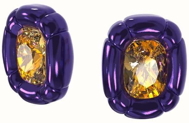 Swarovski Dulcis   Clip Earrings   Cushion Cut Crystals   Purple 5613729
