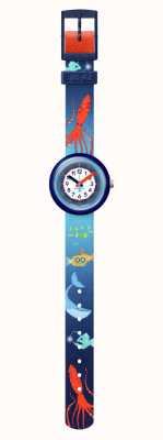 Flik Flak SEA LA VIE | Blue Recycled PET Strap | White Dial FPNP086