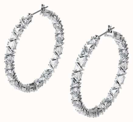 Swarovski Millenia | Interlocking Triangle Cut Hoop Earrings | White 5598343