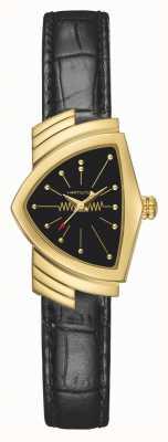 Hamilton Ladies Ventura Quartz | Black Leather Strap | Gold Case | H24101731