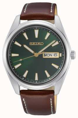 Seiko Green Dial Brown Leather Strap Watch SUR449P1