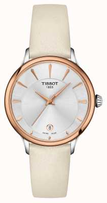 Tissot Odaci-T Sectioned Silver Dial Cream Leather Strap T1332102603100