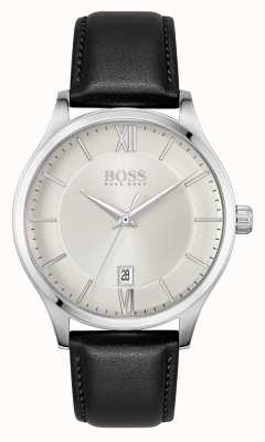 BOSS | Elite Business | Black Leather Strap | Silver Date Dial | 1513893