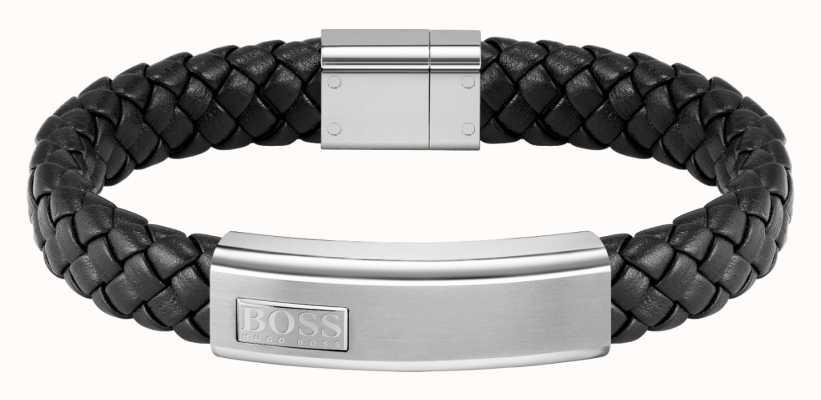 BOSS Jewellery Lander Men's Black Leather Bracelet 1580178M