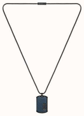 BOSS Jewellery Lander Blue Leather Black Steel Pendant 1580181