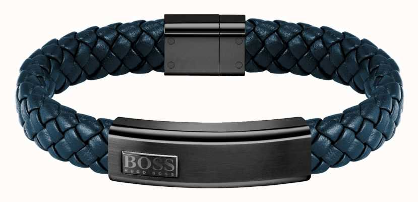 BOSS Jewellery Lander Blue Leather Braided Bracelet 1580179M