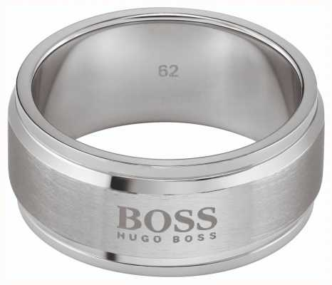 BOSS Jewellery ID Brushed & Polished Steel Ring - Medium 1580254M