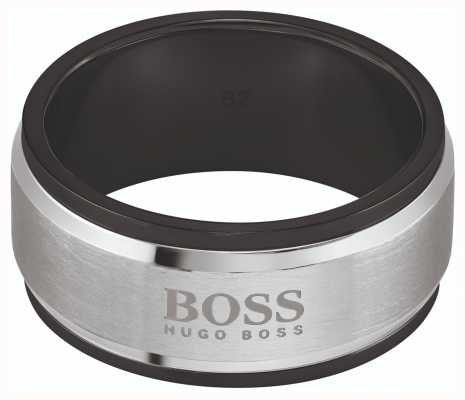 BOSS Jewellery ID Brushed & Polished Two Tone Steel Ring 1580255L