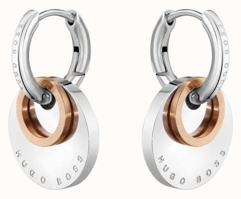 BOSS Jewellery Medallion Two Tone Stainless Steel Earrings 1580231