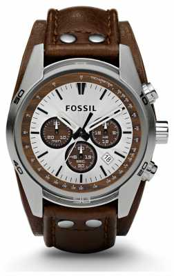 Fossil Mens Sports Chronograph Brown Leather Strap Watch CH2565