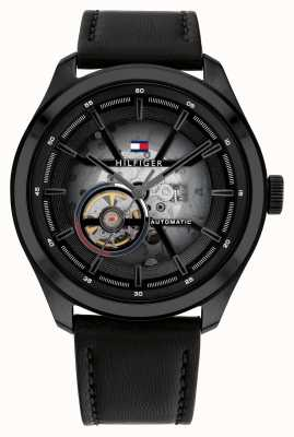 Tommy Hilfiger Oliver Automatic Black Leather Strap Watch 1791887