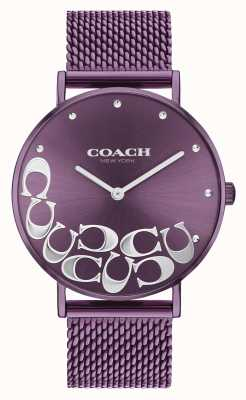 Coach Women's Perry Purple Mesh Bracelet Watch 14503823
