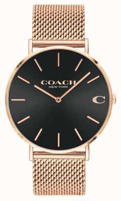 Coach | Charles |  Black Sunray Dial | Rose Gold Mesh Bracelet | 14602552
