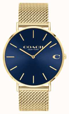 Coach | Charles | Blue Sunray Dial | Gold Mesh Bracelet | 14602551