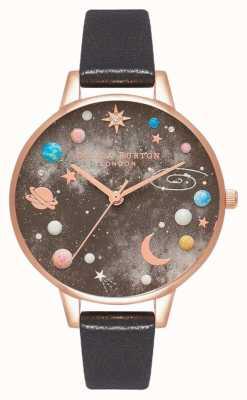 Olivia Burton Celestial Planet Dial Black Leather Strap OB16GD83
