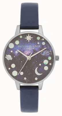 Olivia Burton Celestial Planet Blue Leather Strap OB16GD82