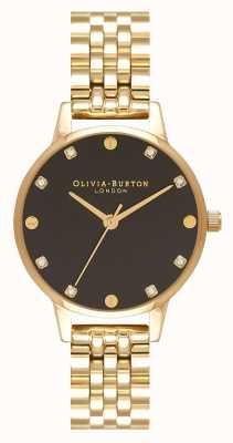 Olivia Burton Midi Black Sunray Dial Gold Bracelet Watch OB16SE17