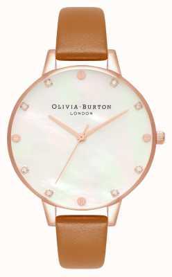 Olivia Burton Demi Mother Of Pearl Dial Tan & Rose Gold Watch OB16SE18