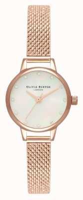 Olivia Burton Mini White Mother Of Pearl Dial, Sparkle Markers & Rose Gold Boucle Mesh OB16MN05
