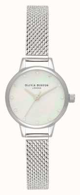 Olivia Burton Mini White Mother Of Pearl Dial, Sparkle Markers & Silver Boucle Mesh Watch OB16MN04