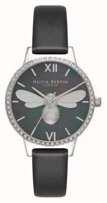 Olivia Burton Lucky Bee Midi Sparkle Dial Black & Silver Watch OB16BB13