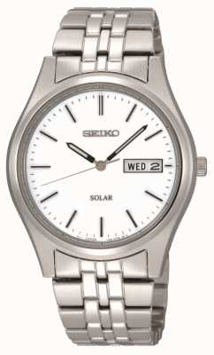 Seiko Solar Powered Mens White Dial Stainless steeel SNE031P1