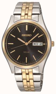 Seiko Solar Powered Two Tone Black Dial Mens Watch SNE034P1