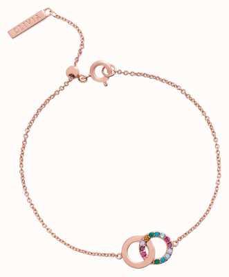 Olivia Burton Jewel Rainbow Interlink Rose Gold Bracelet OBJRBB19