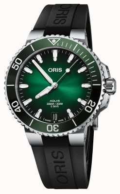 ORIS Aquis Date Calibre 400 41.5mm Green Dial Rubber Strap 01 400 7769 4157-07 4 22 74FC