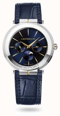 Michel Herbelin Newport Slim Moonphase Leather Strap Watch 12722/T15BL