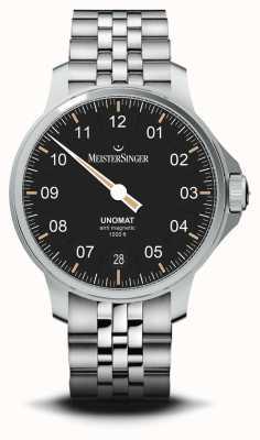 MeisterSinger Unomat Black Sunray Dial Stainless Steel Bracelet UN902