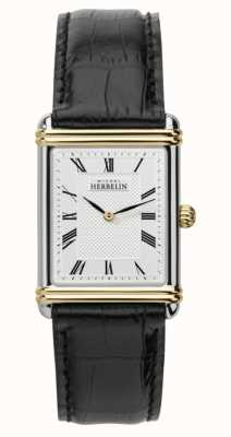 Michel Herbelin Men's Art Deco Black Leather Strap 17468/T08