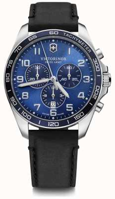 Victorinox Swiss Army   FieldForce   Classic Chrono   Black Leather Strap   Blue Dial   241929
