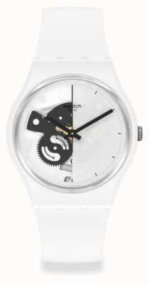 Swatch Live Time White Half-Skeleton Dial SO31W101