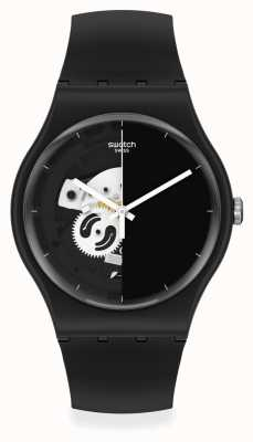 Swatch Live Time Black Half-Skeleton Dial Watch SO32B107