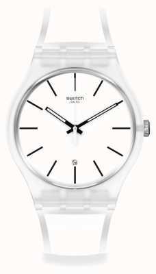 Swatch White Trip Silicone Strap Watch SO29K401