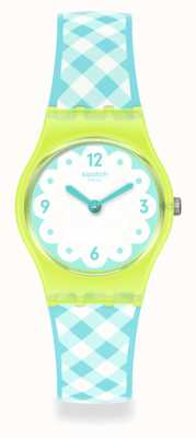 Swatch Picmika Blue and Yellow Silicone Strap Watch LJ112